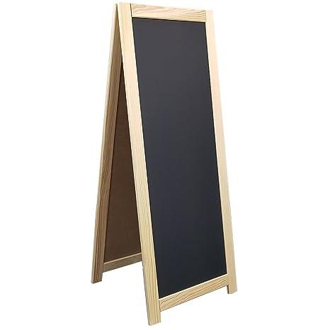 Power-Preise24 Werbeaufsteller aus Holz 110 x 45 cm in Natur Kundenstopper zum Aufstellen Werbetafel doppelseitig beschriftbarer Gehwegaufsteller