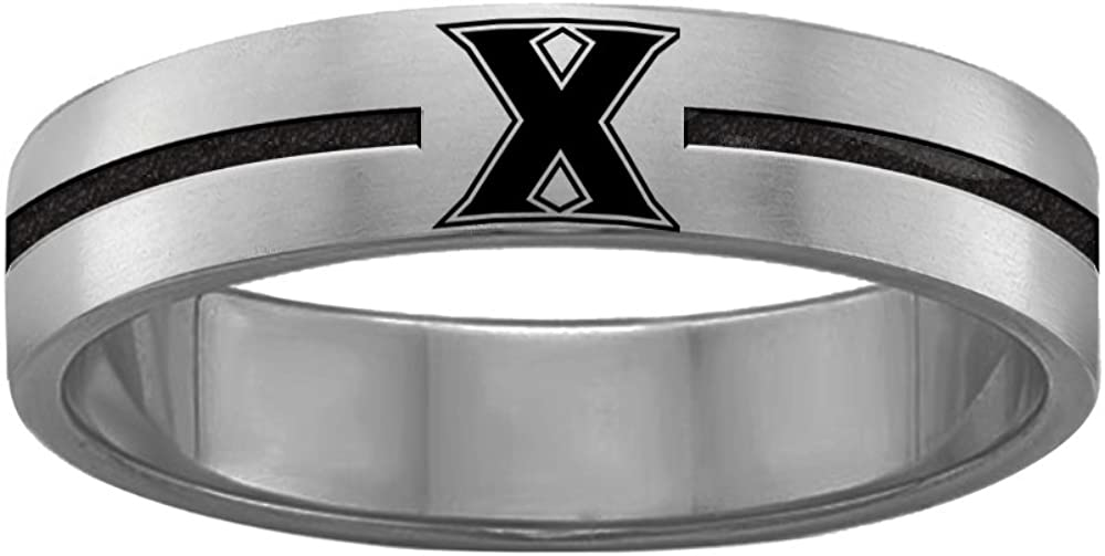 College Jewelry Xavier University Musketeers Rings Stainless Steel 8MM Wide Ring Band