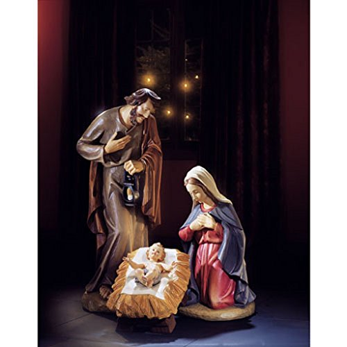 3-piece 24 Inches High Val Gardena Holy Family Nativity Set Resin Hand-carved Wood Replica by Christian Brands