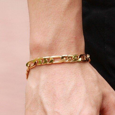 18K Gold Personalized Jewelry Mens Bracelet (Size: Single, Color: Gold) (Size: One Size, Color: Gold)