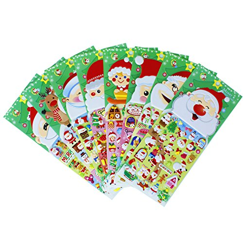 Santa Claus Candy Cane (Christmas Santa Claus Stickers 8 Sheets with Snowman and Reindeer Kids Stickers for Scarpbooking Toys Gifts Present - 320 Stickers)