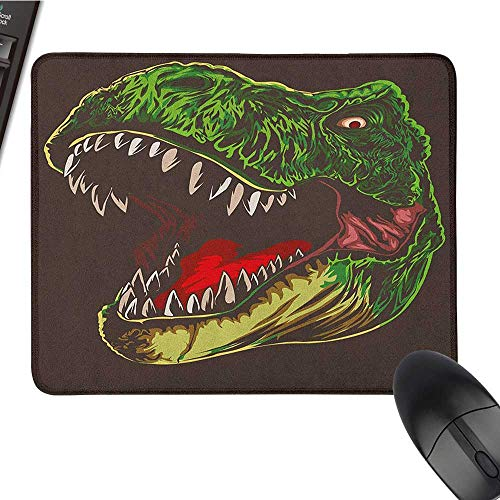 (Funny Mouse pad Dinosaur,Aggressive Wild T Rex Head Colorful Hand Drawn Style Jurassic Period, Dark Brown Fern Green Large Mouse pad 9.8 x11.8 INCH)