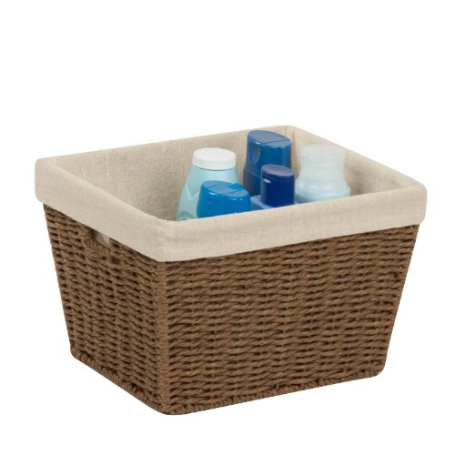 Honey-Can-Do STO-03565 Parchment Cord Basket with Handles and Liner, Brown, 10 x 12 x 8 inches (8 Basket)