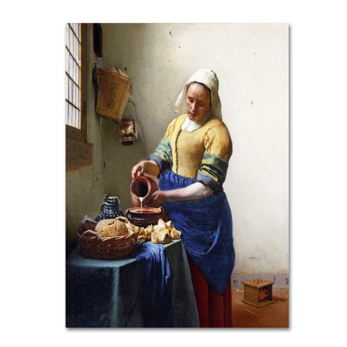 The Milkmaid 1658-60 Artwork by Jan Vermeer, 24 by 32-Inch Canvas Wall Art