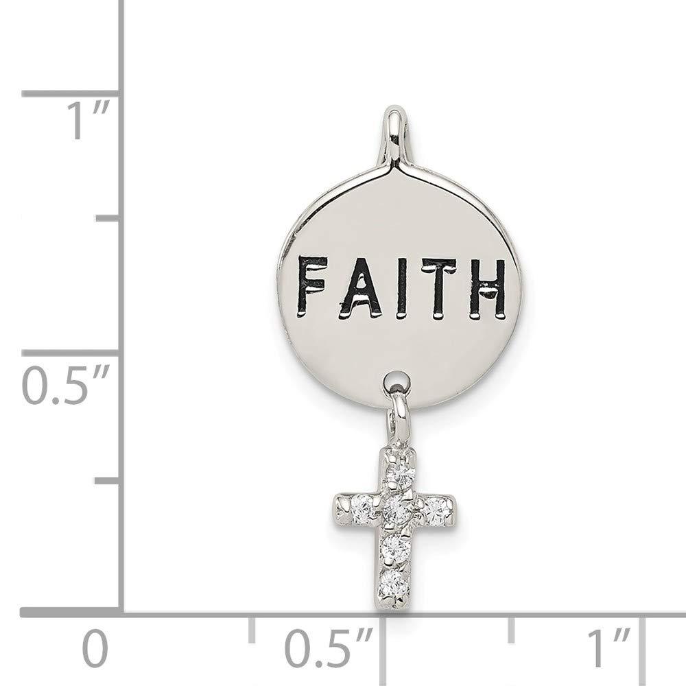 26mm x 13mm Solid 925 Sterling Silver Cubic Zirconia CZ Cross Faith Pendant Slide