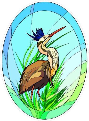 Amazoncom Tropical Crane Bird In Grass Etched Vinyl Stained - Bird window stickers amazon
