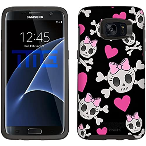 Skin Decal for Otterbox Symmetry Samsung Galaxy S7 Edge Case - Cutie Skulls Pink on Black Sales