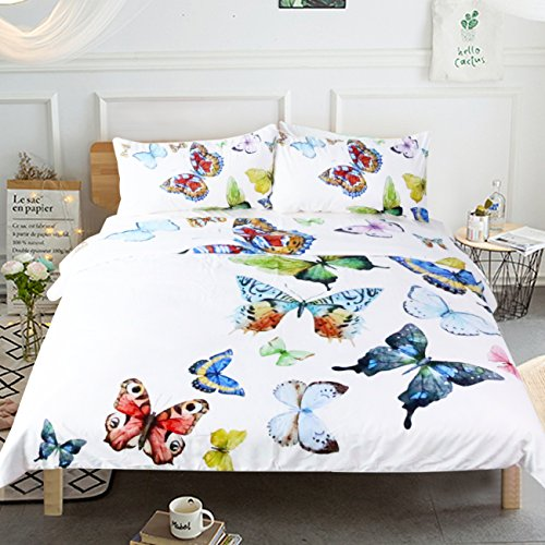 Sleepwish Butterfly Bedding Flying Dreams 3 Pieces Super Soft Butterfly Collection Duvet Cover Set (Queen)