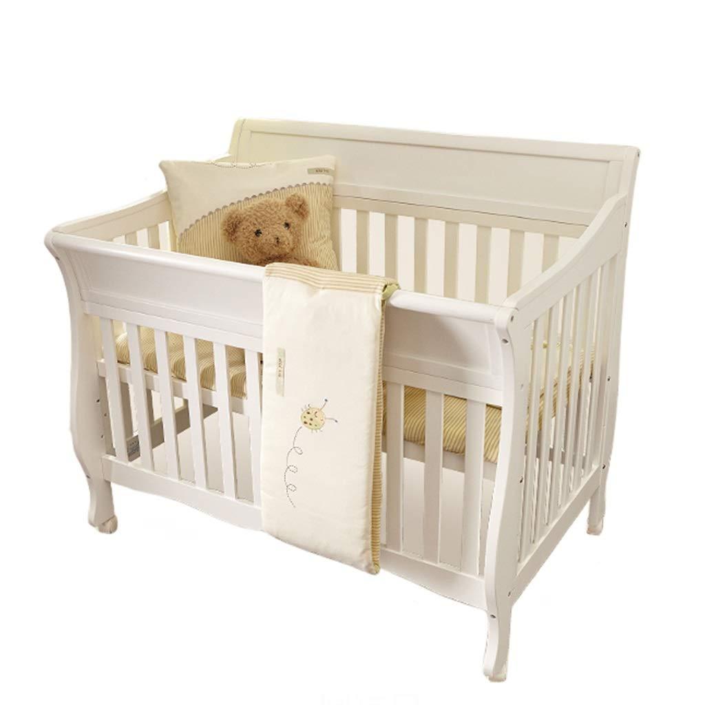 Babybett Babybett Spleißbett massivem Holz europäischen Stil Multifunktions Kinderbett Bett (Farbe   Weiß)
