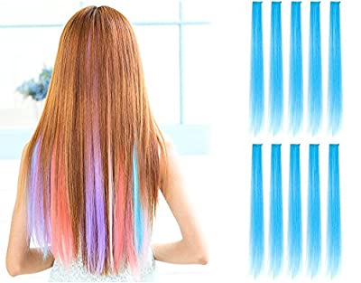"""OneDor® 23"""" Straight Colored Party Highlight Clip on in Hair Extensions 12 Multiple Colors"""