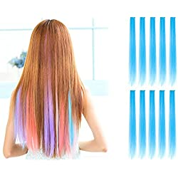 OneDor 23 Inch Colored Party Highlights Straight Hair Clip Extensions. Heat-Resistant Synthetic Hair Extensions in Multiple Colors (10 Pcs Sky Blue)