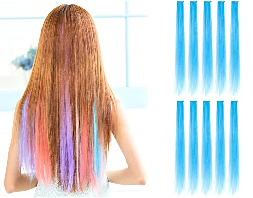 (OneDor 23 Inch Colored Party Highlights Straight Hair Clip Extensions. Heat-Resistant Synthetic Hair Extensions in Multiple Colors (10 Pcs Sky Blue))