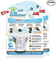 TubShroom Revolutionary Tub Drain Protector Hair Catcher/Strainer/Snare, 2 Pack, Clear