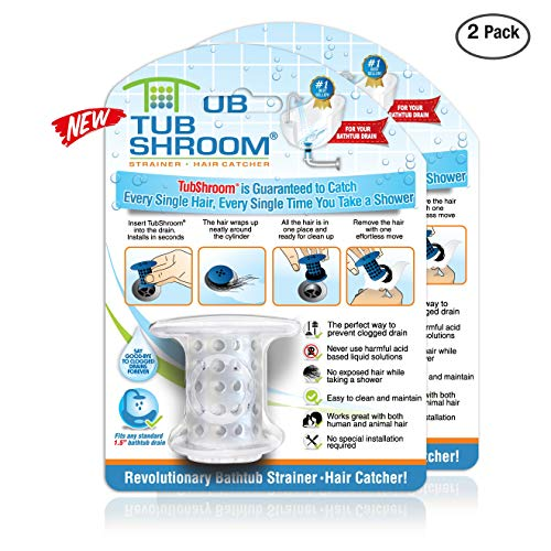 TubShroom Revolutionary Tub Drain Protector Hair Catcher/Strainer/Snare, Clear (2 pack)