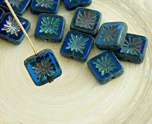 6pcs Picasso Sapphire Blue Rustic Window Table Cut Flat Flower Square Czech Glass Beads 10mm x 10mm