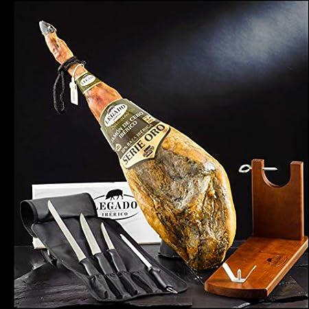 ElPozo Lote Jamon Iberico (50% Ibérico), Jamonero de madera con Set enrollable de 3 cuchillos y chaira (13322)