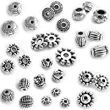 Silver Beads for Jewelry Making Supplies Bracelet Necklace Jewelry Accessories Beading Kit 260 Pieces Crafting