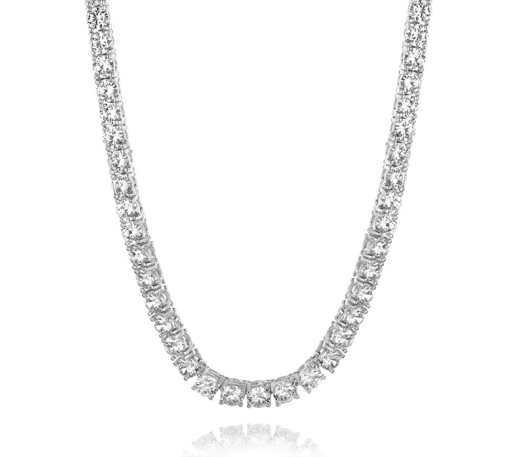 NYC Sterling New Womens Magnificent 4mm Round Cubic Zirconia Tennis Necklace … (rhodium-plated-brass)