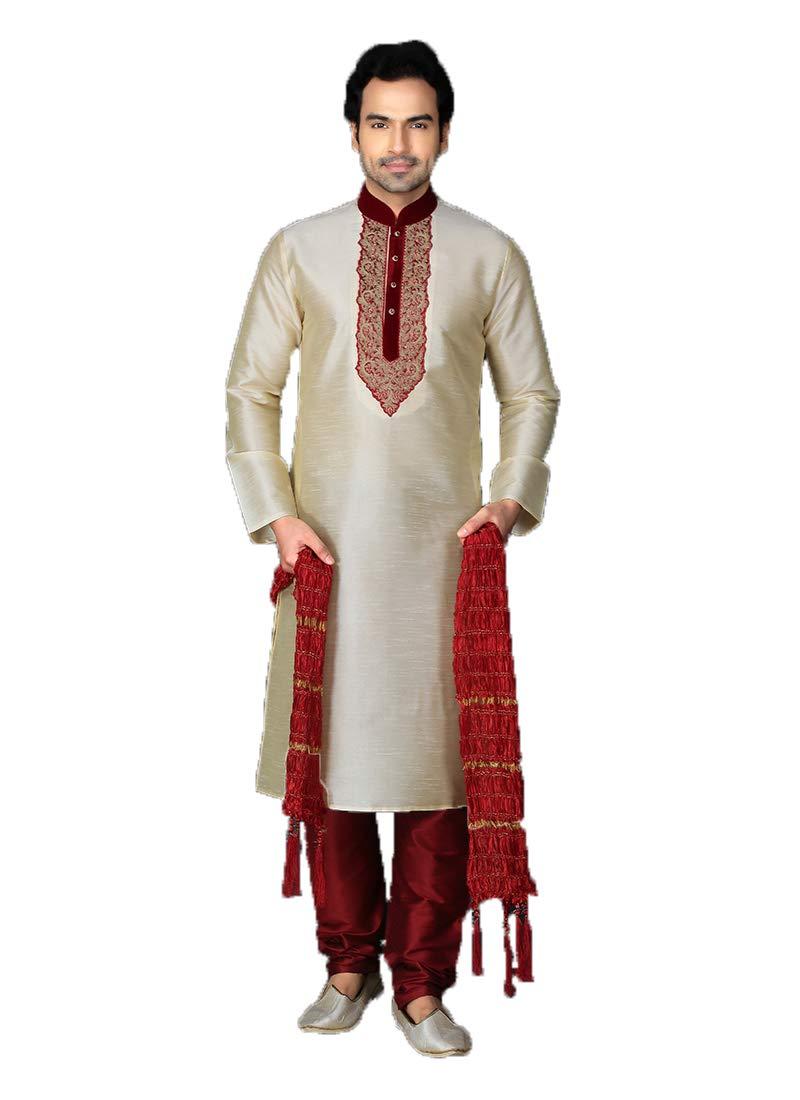 Indian Royal Designer Embroidered Banarasi Silk Festive Wedding Wear Sherwani for Men (8500) (50, Cream1)