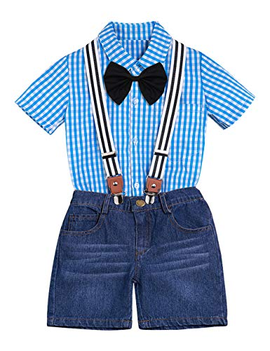 - Toddler Baby Boys Clothes Short Sleeve Gentleman Outfit Suits Plaid Bow Tie Shirts+Denim Suspenders Pants Outfit Suits Set