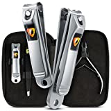 Ennbell Nail Clippers Set - Sharp Fingernail and Toenail Clippers with File for Men & Women – Stainless Steel Nail Grooming Travel Kit Including Cuticle Cutter, Tweezers, Carrying Case