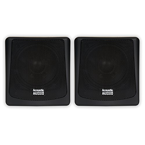 Acoustic Audio AA051B Mountable Indoor or Outdoor Speakers Black Bookshelf Pair