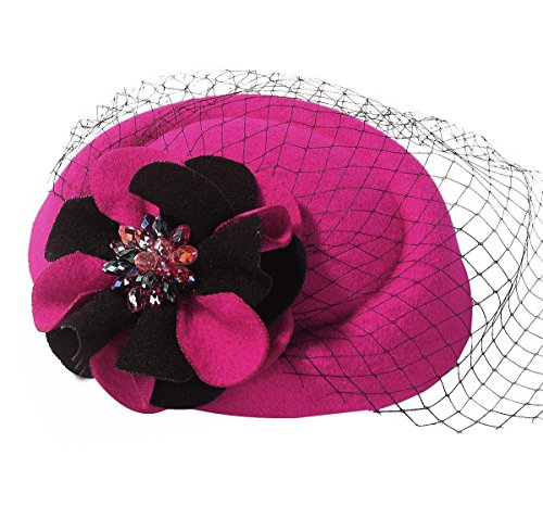 Every Girls Halloween Costume (Coolr Women's Pillbox Hat Cocktail Party Wedding Flower Veil Fascinator Rose)