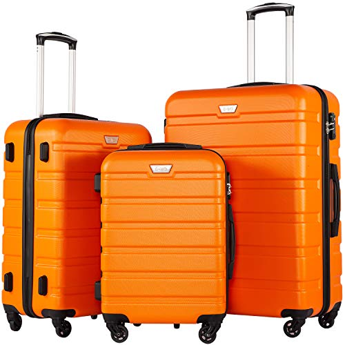 COOLIFE Luggage 3 Piece Set Suitcase Spinner Hardshell Lightweight TSA Lock (Orange) (Best 4 Wheel Suitcase Review)