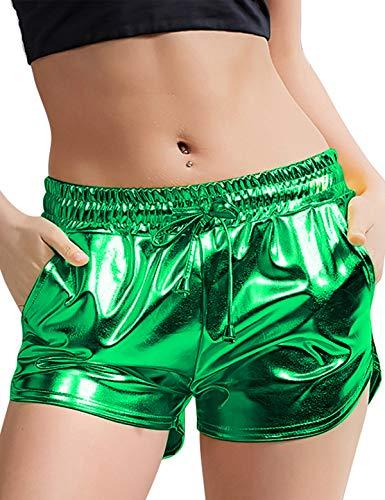 - Peauty Green Metallic Shorts Shiny Shorts M