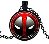 Deadpool Necklace Personality Red and Black Glass Pendant Vintage Fashion Silver Round Dome Necklaces Jewelry (Black)
