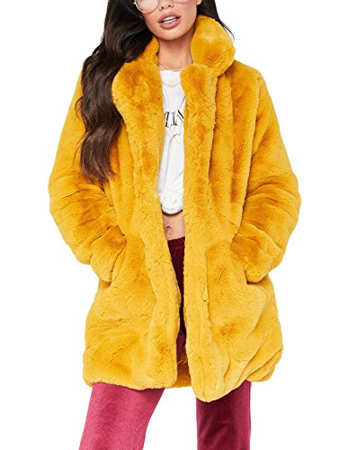 Remelon Womens Long Sleeve Winter Warm Lapel Fox Faux Fur Coat Jacket Overcoat Outwear with Pockets Yellow XL