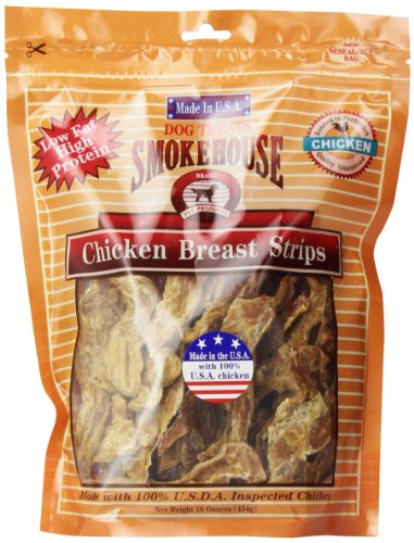 - Smokehouse 100-Percent Natural Chicken Breast Strips Dog Treats, 16-Ounce