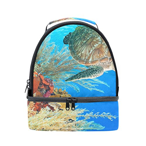 Cooper girl Sea Turtle Among The Coral Reef Lunch Bag Cooler Tote Bag Large Capacity for Women Men Adult Kids Boys Girls ()
