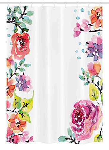 Rose Realistic Border (Ambesonne Watercolor Flower Stall Shower Curtain, Decorative Framework With Summer Roses and Natural Borders Illustration, Fabric Bathroom Decor Set with Hooks, 54 W x 78 L Inches, Multicolor)