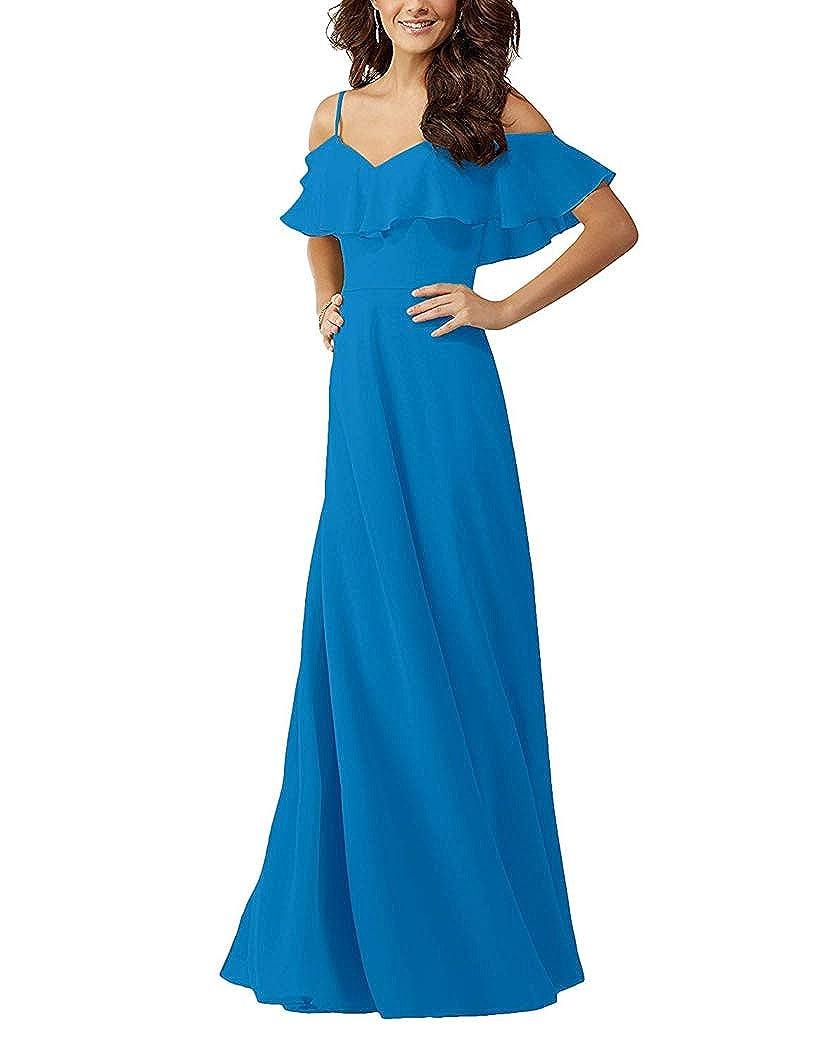 bluee YUSHENGSM VNeck Spaghetti Straps Bridesmaids Dresses for Wedding Long Prom Beach Skirt