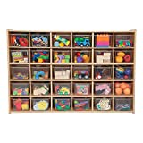 Sprogs 30-Tray Wooden Storage Unit - Unassembled With Clear Trays, SPG-71241