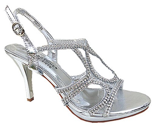 fashionfolie Women's Pumps High Heel Diamante Evening Wedding Sandal Shoes 3003-26Silver ednYYe