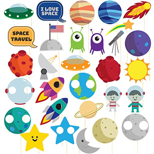 Space Photo Booth Props - 30-Pack Pre-Assembled Outer Space Party Supplies, Solar System Party Photo Props, Birthday Decoration Accessories Party Favors on Bamboo Sticks, Assorted Designs