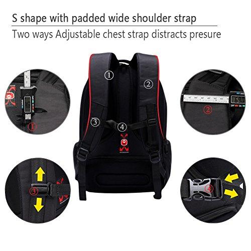 kopack Laptop Backpack Slim Computer Travel Bag Anti Theft Water Resistant 15.6 Inch Black KP492 by kopack (Image #6)