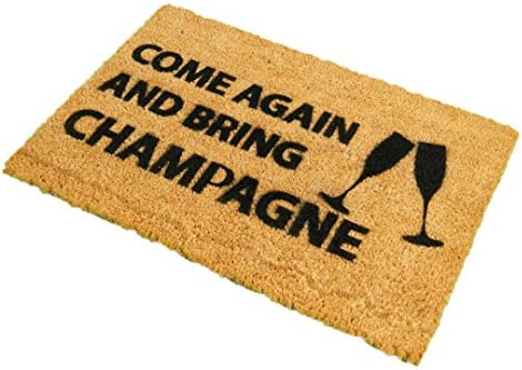 CKB Ltd Come Again Bring Champagne Novelty Doormat Unique Doormats Front Back Door Mats Made with A Non-Slip PVC Backing – Natural Coir – Indoor Outdoor