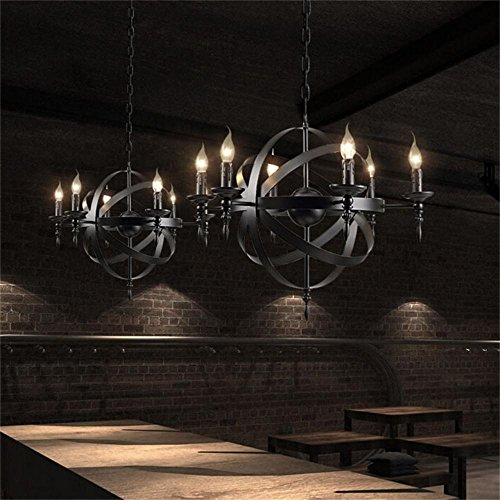 Chandeliers Creative American Country Style Retro Light Industrial bar-Cafe bar Restaurant Lights Wrought Iron Bird cage (Design : 8-L) ()