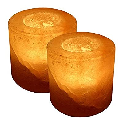 Crystal Allies Gallery: CA SCH-CYD-2pc Pack of 2 Natural Himalayan Cylinder Salt Tealight Candle Holder Air Purifier & Ionizer w/ Authentic Crystal Allies Info Card