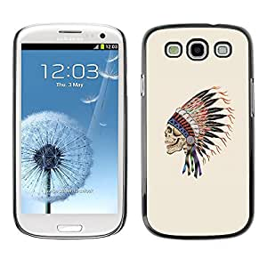 Planetar® ( Indian Feathers Skull Native American ) Samsung Galaxy S3 Fundas Cover Cubre Hard Case Cover