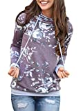 Famulily Women's Floral Printed Casual Long Sleeve Hoodie Pullover Sweatshirts (X-Large, Purple)