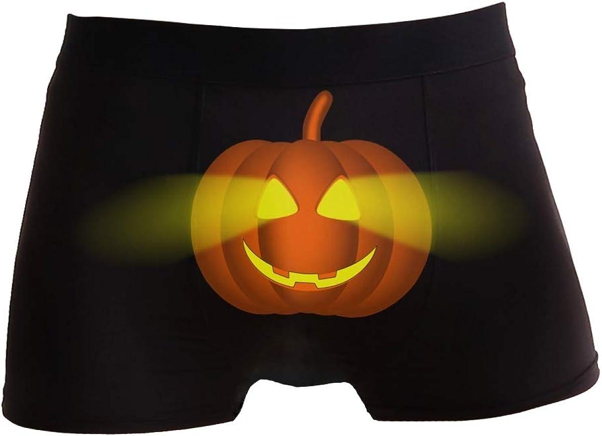 linqin Mens Small Regular Leg Boxer Brief Comfortable for Teens Halloween Glowing Pumpkin