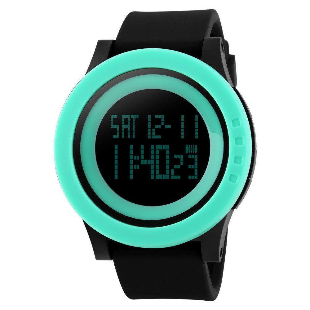 ... Stopwatch 5 ATM Waterproof Sport LED Digital Watch Military Rubber Wrist Watch Strap Analog Quartz Watch with Date Month Relojes De Hombre: Electronics