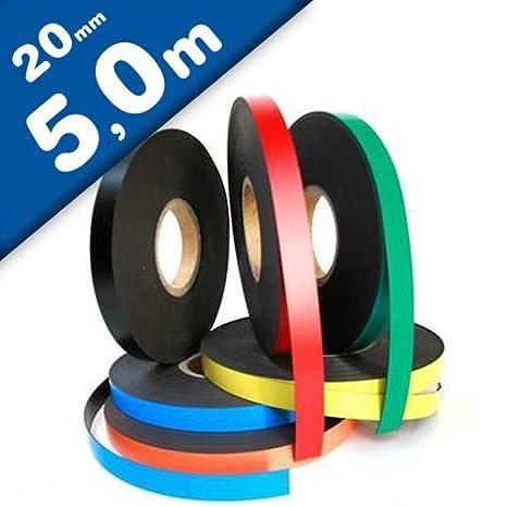 5 x 1 Meter ewtshop® Magnetband Magnetbänder in weiß 20 mm breit