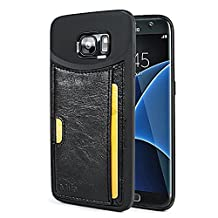 Mifa - Samsung S7 slim card holder slot case ID Credit Card TPU full body protector drop proof edge proof - Black