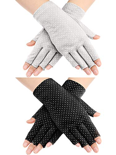 Maxdot 2 Pairs Sunblock Fingerless Gloves Non-slip UV Protection Driving Gloves Summer Outdoor Gloves for Women and Girls (Gray and Black)