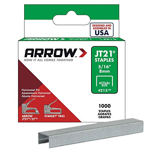 Arrow Fastener 215 Genuine JT21/T27 5/16-Inch Staples, 1,000-Pack (Staple Gun Staples)